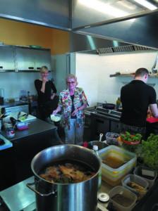 Kuchnia Trattorii Flaminia , gdzie przygotowywane są tradycyjne dania Rzymskie