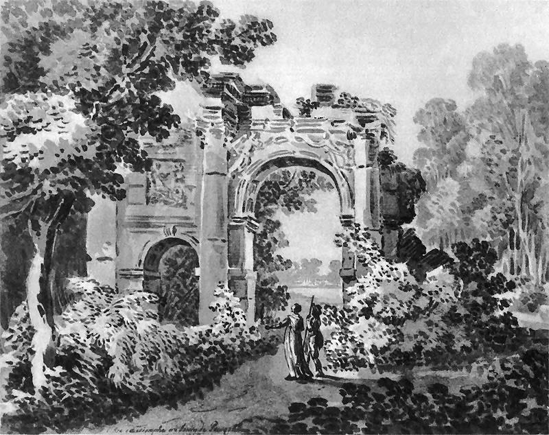 Zygmunt Vogel, Fragment ogrodu Powązki Czartoryskiej z ruinami łuku triumfalnego, ok. 1800