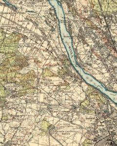 Przedwojenna mapa przedstawiająca przebieg trasy kolei młocińskiej