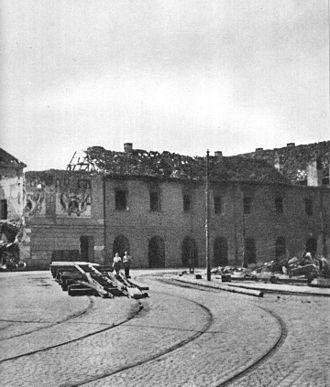 Arsenał w 1945 -widok z ulicy Bielańskiej -miejsce - akcji